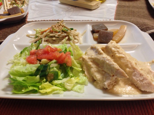 茹で鶏の豆腐マヨソース