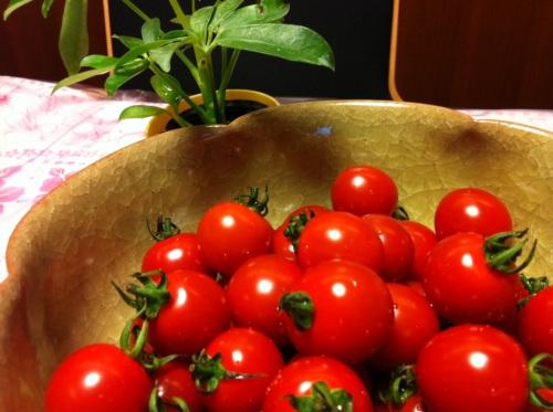 彩りを添えるプチトマト